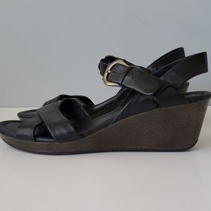 Cole Haan Nike Air Black Strappy Wedge Sandals 9.5